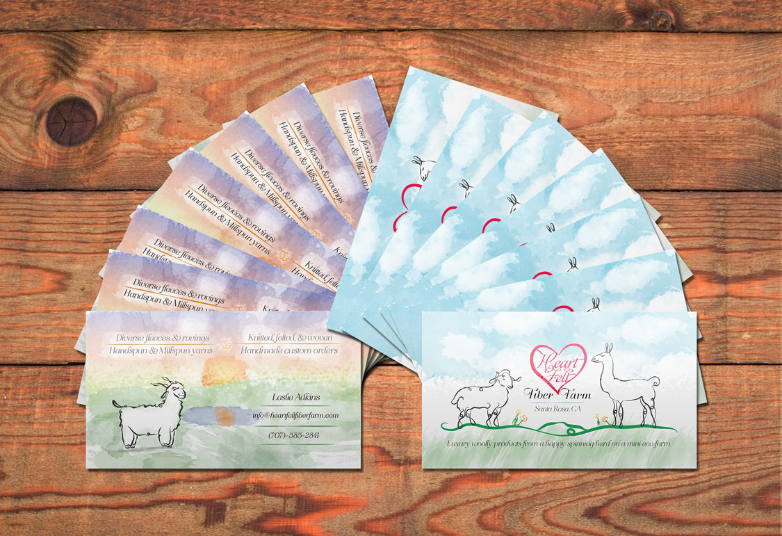 Heartfelt Fiber Farm Business Cards - PixiPrism